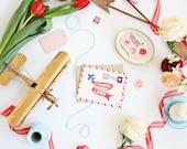 Sending You Love Card - Boxed Card Set - Retro Airmail Card - Retro Valentine's Card - Airmail Card - Valentine's Day Card - Snail Mail Card