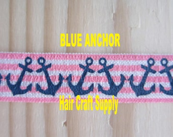 ANCHOR PRINT ELASTIC - anchors and stripes print- From 1 - 5 yards