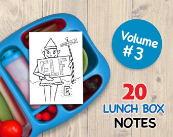 Vol 3 LUNCH BOX NOTES for Kids 20 Assorted Printable Cards Drawings Inspirational School Printables Art for Boys and Girls Lunchbox Letters