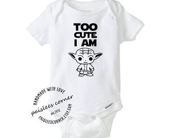 Star Wars Too Cute I Am Baby Yoda Gerber Onesie, Baby Shower Gift, Baby Boy, Baby Girl, Pregnancy Announcement, Star Wars Baby, Gift