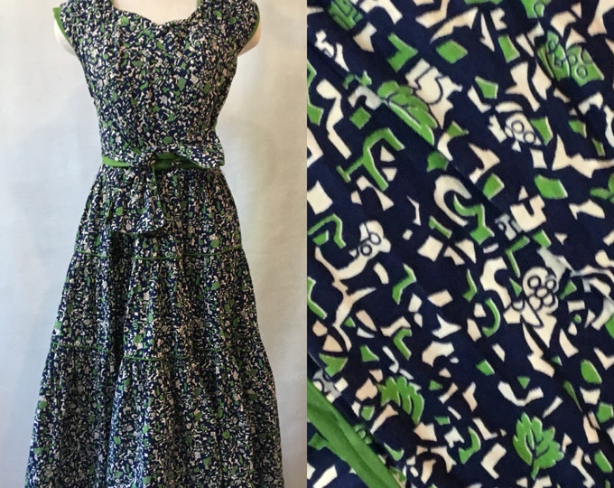1940's Cotton Print Halter Dress, hand made, size M/L