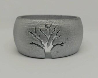 Silver Wood Silhouette Bracelet