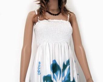 Bali Greyish Blue Hand Painted Flower Batik Tropical Floral Sundress Bridesmaids Bridal Wedding Summer Beach Valentine Free Size 1X 2X 3X
