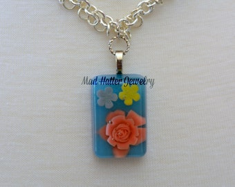 Spring Flowers on Blue Necklace
