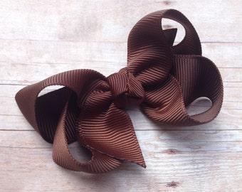 Brown hair bow - brown bow, 3 inch hair bows, boutique bows, girls hair bows, girls bows, brown bow, toddler bows, hair bows, hair bow, bows