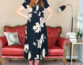 80s Does 1940s Dress - Black Floral Midi Day Dress - S/M - Full Flare A-line - Short Sleeve - Empire Waist - Vintage Miss Fisher Style