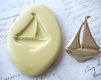 SAILBOAT - Flexible Silicone Mold - Push Mold, Jewelry Mold, Polymer Clay Mold, Resin Mold, Craft Mold, Food Mold, PMC Mold