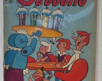 Vintage Comic Book the Jetsons, 1970, George Jetson, Jane Jetson, his son Elroy, Just like the song used to go, Fun Comic Book, Space Age