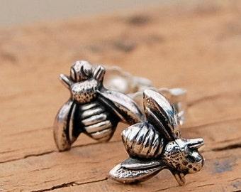 Bee Earrings / Silver Stud Earrings / Silver Bumblebee Studs / Insect Earrings / Bug Stud Earrings / Sterling Silver Post Earrings