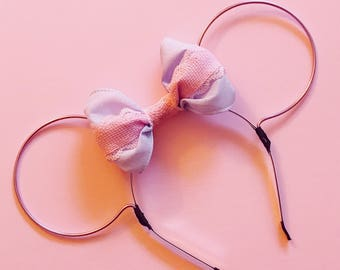 Rapunzel Themed Bow and Lilac Wire Mouse Ears Headband