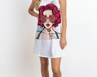 Sleeveless Mini Dress w Polka Dots Girl Print