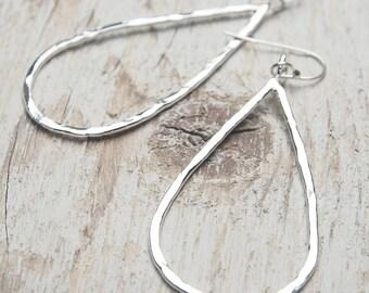 sterling silver teardrop earrings, hammered silver teardrop outline drops, ildiko jewelry