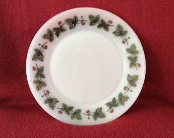 "Phoenix Opalware Strawberry Tea Plate 6 1/2"" Diameter"