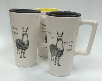 Road Trip? handled ceramic travel mug