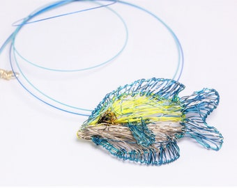 Fish necklace, wire wrapped pendant, yellow blue necklace, fish art sculpture, modern hippie, ocean animal jewelry, Summer gift for women