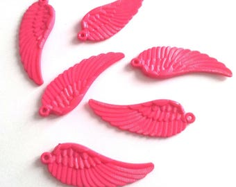 Set of 6 pendants pink wings - acrylic T23