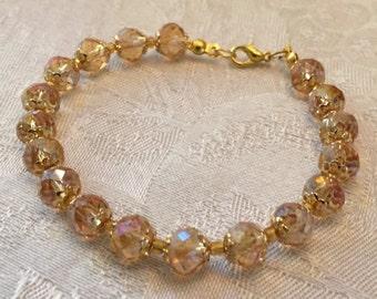 Gold Aurora Borealis Swarovski Crystal  And Rhinestone Beaded Gold Tone Bracelet