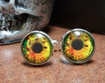 16mm round silver cufflinks- green eyeballs