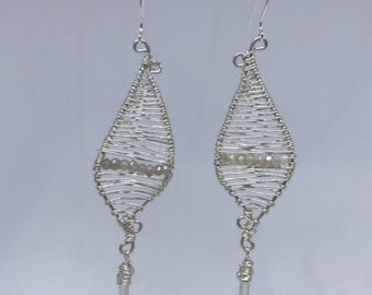 Sterling Silver wire wrapped Earring moonstone and quartz drops