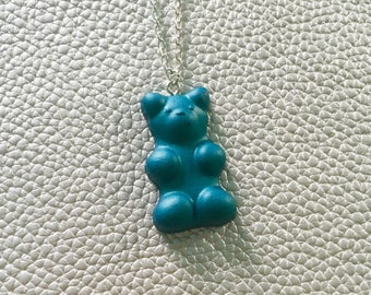 Large Gummy Bear Necklace - Blue