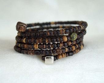 Tribal Wrap Bracelet, Coconut Bead Bracelet, Upper Arm Bracelet, Boho Bracelet