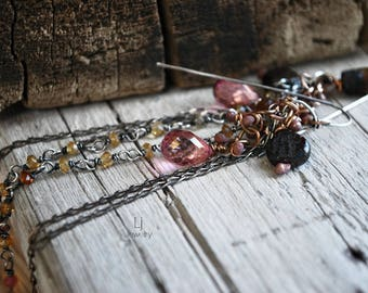 Pink Quartz Long Chain Earrings Dangling Mixed Metals Gemstones Letemendia Jewelry Handmade Boho