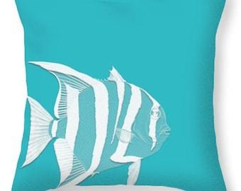 STRIPED FISH pillow aqua and white, beach decor, coastal deor, square or lumbar, scatter cushion, home accents, aqua decor