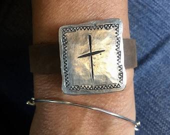 Cross Cuff, leather cuff, religious, custom jewelry