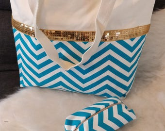 Canvas stripe sequined tote bag and its matching pouch