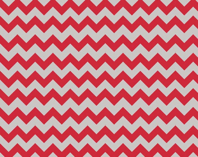 Small Holiday and School Colors Chevron - Red / Gray - Cotton Quilt Fabric - C400-04 - Riley Blake Designs Fabrics (W3324)