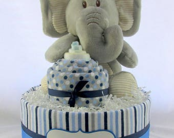 Elephant diaper cake | Boy diaper cake | Baby shower decoration | Baby diaper cake | Baby shower gift | Unique baby gift | New mom gift