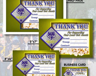 Instant Download - Cub Scout Popcorn Sales Cards - Salesmen, Order, Scouting, BSA, Trail's End, Popcorn, Printable, Calling Card