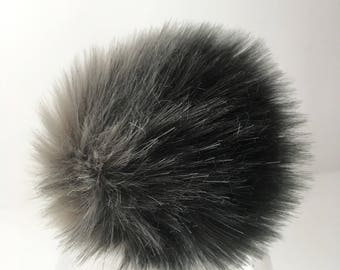 Luxury Black & Gray Faux Fur Pom Pom