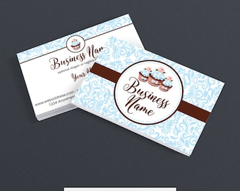 Business Card Designs - Bakery Business Card -  2 Sided Printable Business Card Design - Cupcake Delight 3