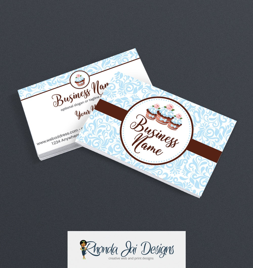 Business Card Designs - Bakery Business Card - 2 Sided Printable ...