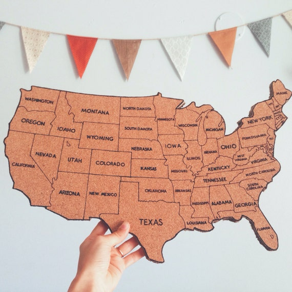 Traveling To The United States: Items Similar To United States Corkboard Map With State