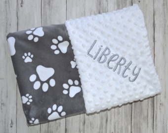 Minky Monogrammed Baby Blanket, Personalized Monogram, Neutral Puppy Dog Blanket, Gray and White Paw Prints, Pet blanket with name,  gift