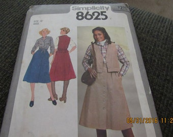 Vintage 1977 Simplicity 8625 Sewing Pattern Misses' Skirt, Blouse, and Unlined Vest, Size Miss 12.