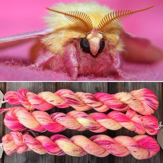 Rosy Maple Moth 20g, miniskein speckle dyed pink yellow merino nylon platinum sock indie yarn