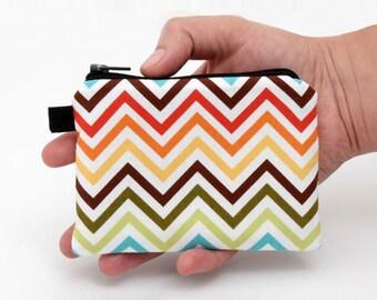 Colorful Little Purse, Women's Coin Purse, Padded Zipper Pouch, Small Zigzag Fabric Change Bag, Handmade Mini Makeup Bag - rainbow chevron