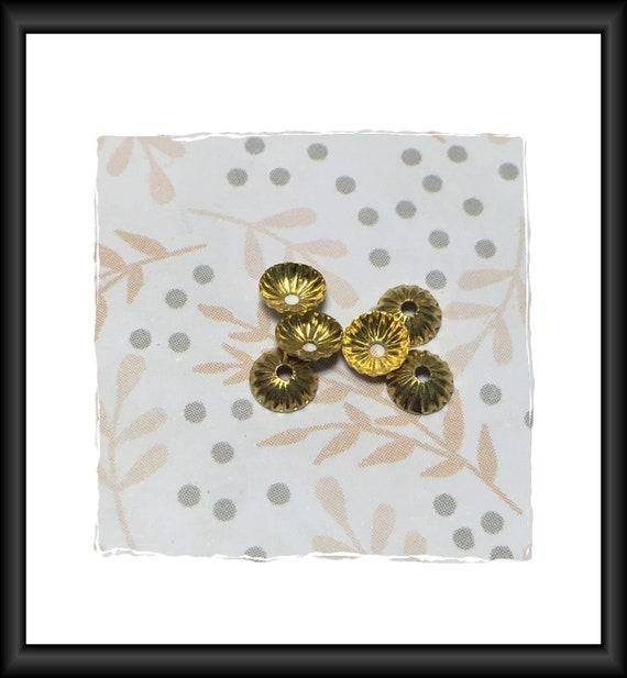 Gold Fluted 5 mm Bead Caps - 6 Caps