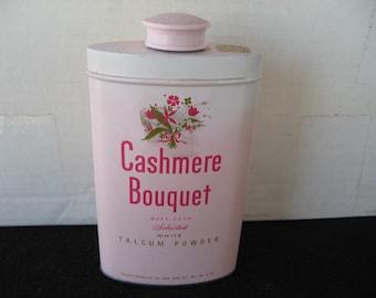 Vintage Cashmere Bouquet Powder Tin - by Colgate Palmolive-floral graphics