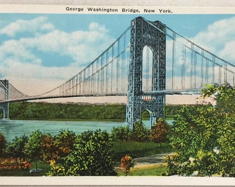 Vintage NY Postcard George Washington Bridge New York City Manhattan Mint