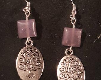 Lepidolite and tree of life earrings