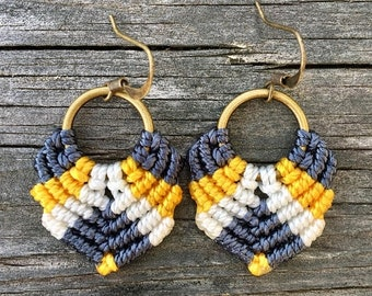 SALE Micro-Macrame Dangle Earrings - Navy, White and Yellow