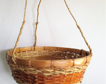 Hanging Wicker Basket PLANT HOLDER Rattan Woven, Large Strong Jute Round Container, 1970's 1980's as-is