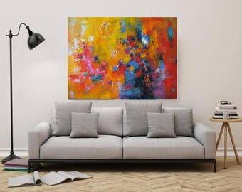 XL Abstract horizontal large oil on canvas,Modern art,extra large art industrial loft,mustard yellow home decor,red wall art,oversized art