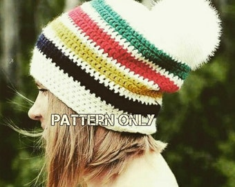 Pattern Only, Crochet Slouchy Beanie, Slouchy Hat, Hudsons Bay Inspired, Faux Fur Pompom, Winter Hat