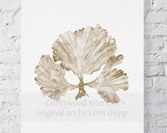 Seaweed II in Natural Watercolor Print 11x14 - Coral Art Print - Watercolor Art Print - Taupe Coral Print