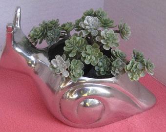 Snail Planter, Cast Aluminum Planter